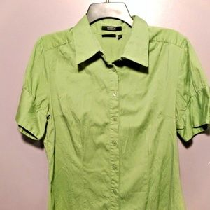 Apt. 9 Large Shirt Green Button Down Short Sleeve